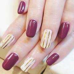 方圆形紫色金银线美甲图片