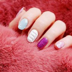 方圆形蓝色白色紫色毛衣纹雪花跳色磨砂美甲图片