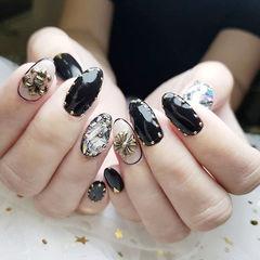 圆形黑色钻克罗心韩式美甲图片