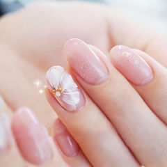 圆形粉色白色手绘花朵简约日式上班族美甲图片