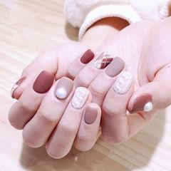 方圆形红色裸色白色毛衣纹珍珠菱形磨砂美甲图片