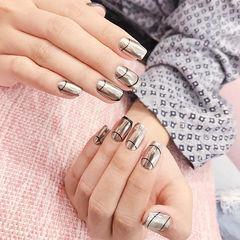 方圆形银色线条镜面韩式美甲图片