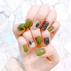 方圆形绿色黑色钻美甲图片