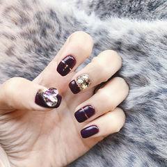 方圆形紫色金银线钻韩式美甲图片