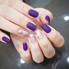 方圆形紫色贝壳片金箔磨砂美甲图片