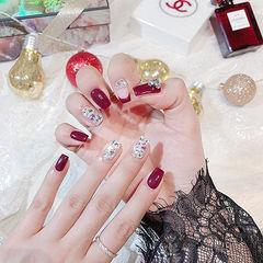 方圆形酒红色钻法式新娘新年美甲图片