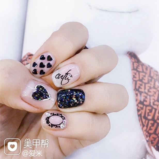 方圆形黑色亮片心形贴纸韩式美甲图片