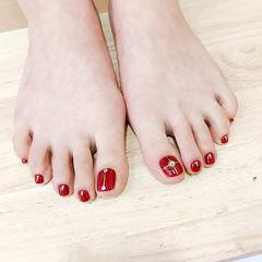 脚部红色金银线显白新年新娘美甲图片