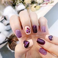 方圆形紫色心形亮片皮草胶磨砂美甲图片