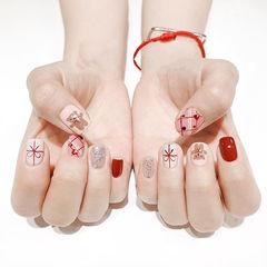 方圆形红色棕色裸色手绘蝴蝶结可爱美甲图片