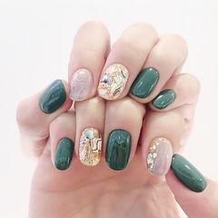 圆形绿色灰色贝壳片美甲图片