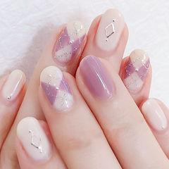 圆形香芋紫色裸色菱形美甲图片