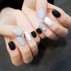 方圆形黑色灰色白色珍珠格子皮草胶磨砂美甲图片