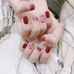 方圆形红色渐变贝壳片新娘新年美甲图片