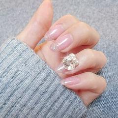 圆形银色渐变钻珍珠新娘日式美甲图片