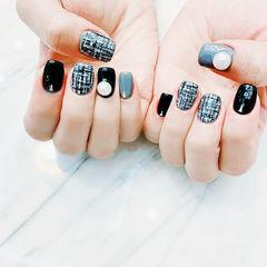 方圆形黑色灰色手绘毛呢珍珠美甲图片