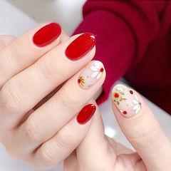 圆形红色亮片新娘美甲图片