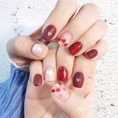 方圆形红色心形亮片磨砂珍珠美甲图片
