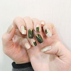 方圆形绿色银色美甲图片