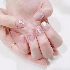 方圆形粉色金银线心形美甲图片
