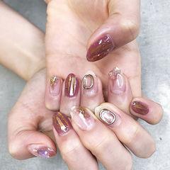 圆形紫色裸色金属饰品碎玻璃日式美甲图片