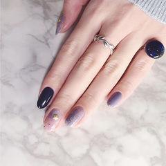 圆形紫色晕染金属饰品简约美甲图片