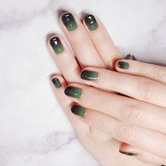 圆形绿色黑色渐变简约美甲图片