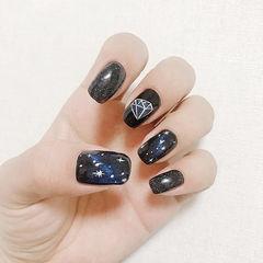 方圆形黑色蓝色手绘星空猫眼美甲图片