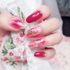 圆形红色晕染珍珠新娘日式美甲图片