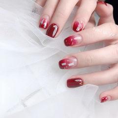 方圆形红色渐变贝壳片金箔新年新娘分享ins美图美甲图片