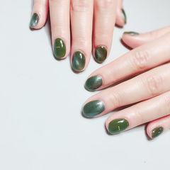 圆形绿色短指甲猫眼简约美甲图片