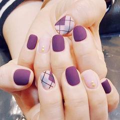 方圆形紫色裸色菱形磨砂美甲图片