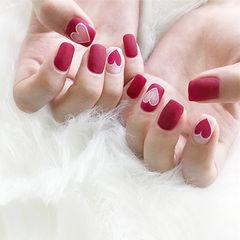 方圆形红色心形镂空磨砂美甲图片
