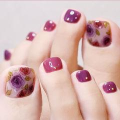 脚部紫色手绘花朵美甲图片