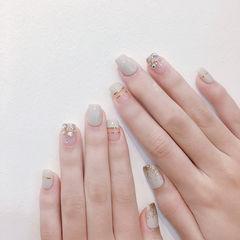 方圆形裸色金银线钻平法式美甲图片