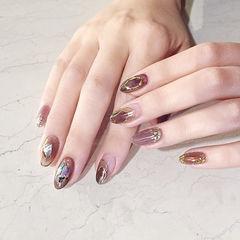 圆形紫色棕色手绘贝壳片日式美甲图片