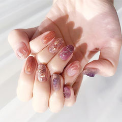 圆形紫色焦糖色晕染日式手绘美甲图片