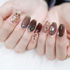 方圆形棕色贝壳片金属饰品日式美甲图片