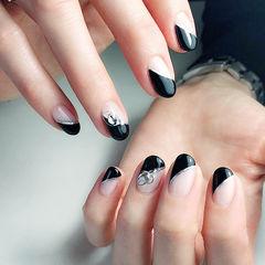 圆形黑色斜法式钻美甲图片