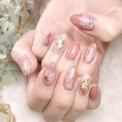 圆形粉色手绘花朵贝壳片金箔日式美甲图片