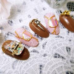 圆形棕色粉色钻金属饰品日式美甲图片