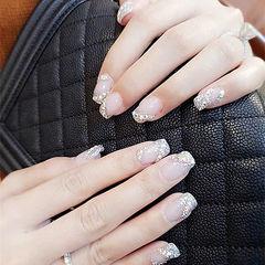 方圆形银色钻法式新娘美甲图片