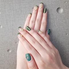 方圆形绿色钻金属饰品法式美甲图片