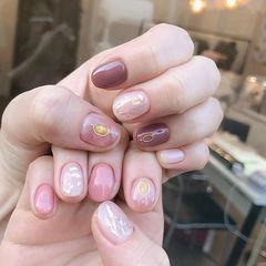 圆形粉色豆沙色跳色短指甲贝壳片美甲图片
