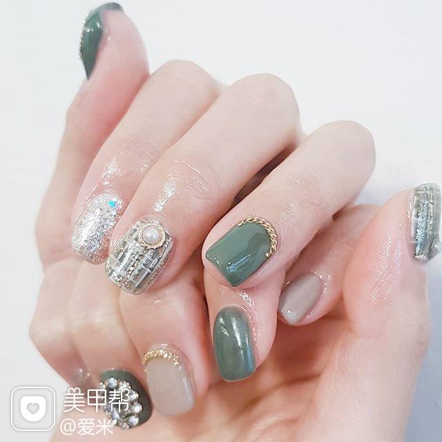方圆形绿色裸色手绘毛呢珍珠钻美甲图片