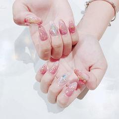 圆形粉色金箔钻日式美甲图片