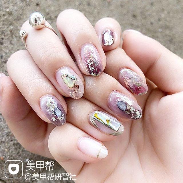 圆形紫色晕染贝壳片日式美甲图片