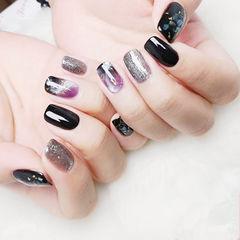 方圆形黑色银色紫色晕染贝壳片金箔石纹美甲图片