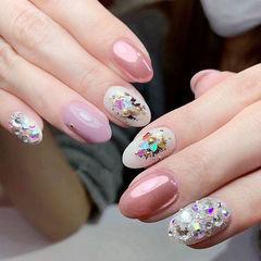 圆形粉色玫瑰金镜面贝壳片金箔美甲图片