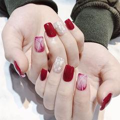 方圆形红色玫红色晕染贝壳片新年美甲图片